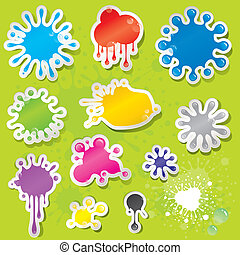Sticky Splashes - Set of colors splashes stickers with water...