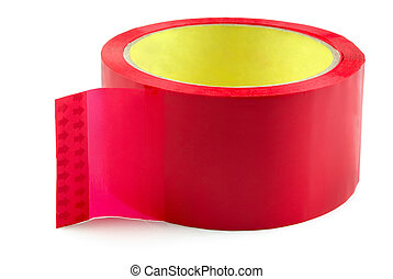 Sticky tape - Roll of red adhesive plastic tape isolated on ...