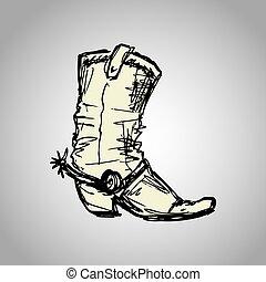 stiefel, cowboy, zeichnung, hand