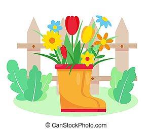 stiefeln, kleingarten, gummi, flowers.