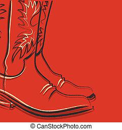 stiefeln, roter hintergrund, cowboy