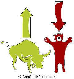 stier, baissemarkt, liggen