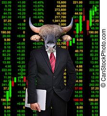 stier, begriff, markt, investition, bestand