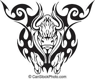 stier, in, van een stam, stijl