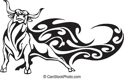 stier, in, van een stam, stijl, -, vector, image.