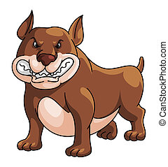 stier, karikatur, abbildung, hund