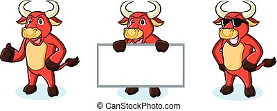 stier, mascotte, rood, vrolijke