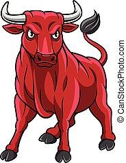 stier, rood, mascotte