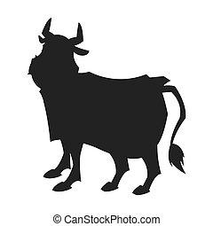 stier, silhouette, spotprent, pictogram