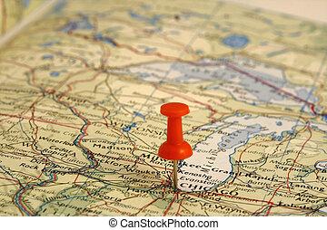 stift, auf, der, landkarte, ort, chicago