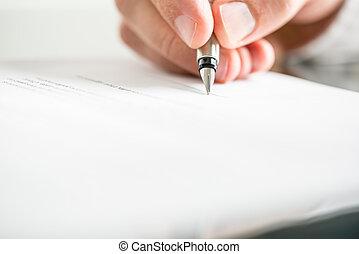 stift, dokument, brunnen, mann, schreibende