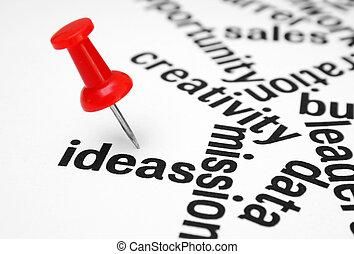 stift drücken, auf, idee