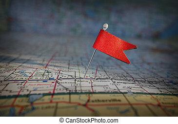stift, flagga, och, karta