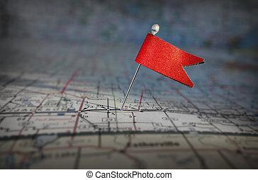stift, flagga, på, karta