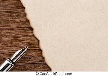 stift, holz, pergament, tinte