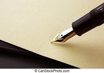 stift, papier, brunnen, pergament