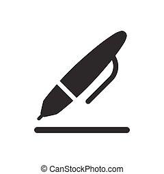 stift, schreibende, ikone
