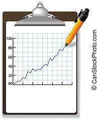 stift, zeichnung, finanzielles wachstum, tabelle, klemmbrett