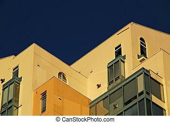 stiga, hög, specificera, byggnad