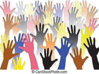 stige, farverig, hånd