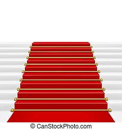 stige, rød gulvtæppe