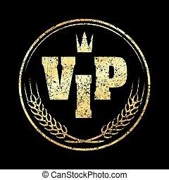 stijl, aaren, grunge, goud, postzegel, kroon, rubber, achtergrond., vip, black , ronde, pictogram