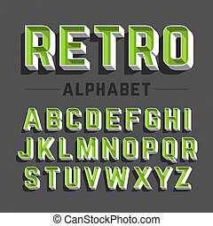 stijl, alfabet, retro