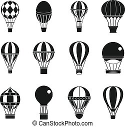 stijl, ballon, set, lucht, eenvoudig, pictogram