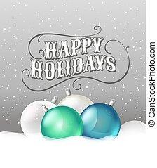 stijl, baubles, groet, snow., retro, kerstmis kaart