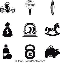 stijl, blad, iconen, set, eenvoudig, evenwicht