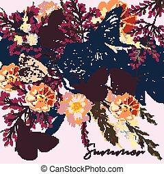 stijl, bloemen, vlinder, achtergrond, rozen, flora, akker, ouderwetse