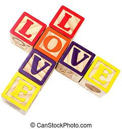 stijl, blokjes, criss, alfabet, kruis, liefde, spelling