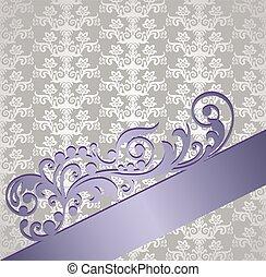 stijl, boek, floral, victoriaans, dekking, zilver, paarse