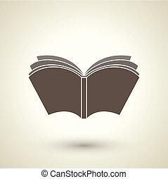 stijl, boek, open, retro, pictogram