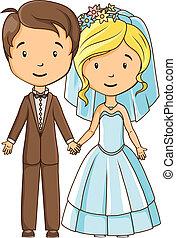 stijl, bruidegom, bruid, holdingshanden, spotprent