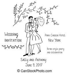 stijl, bruidegom, -, bruid, uitnodiging, handdrawn,...