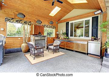 stijl, cabine, logboek, terras, gebied