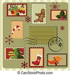 stijl, card., retro, kerstmis