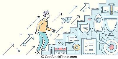 stijl, carrière, moderne, -, illustratie, groei, ontwerp, lijn
