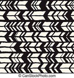 stijl, chevron, model, abstract, seamless, hand, vector, black , white., achtergrond, getrokken