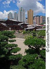 stijl, chinees, tang, chi, lin, hong, dynastie, nonnenklooster, tempel, kong