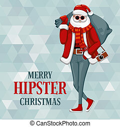 stijl, claus, hipster, kerstman