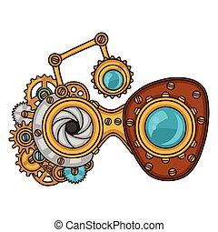 stijl, collage, steampunk, metaal, toestellen, doodle, bril
