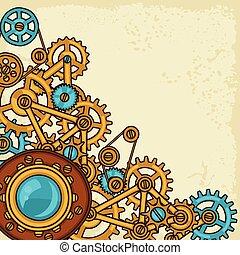 stijl, collage, steampunk, metaal, toestellen, doodle