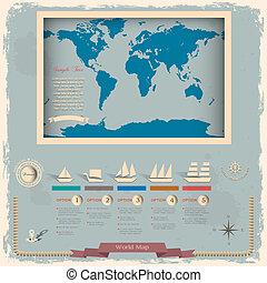 stijl, communie, retro, wereld, ontwerp, kaart, nautisch