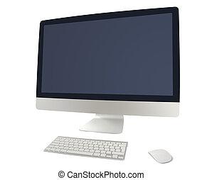 stijl, computer, met, toetsenbord, en, muis
