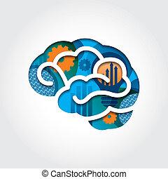stijl, concept, handel illustratie, hersenen, minimaal