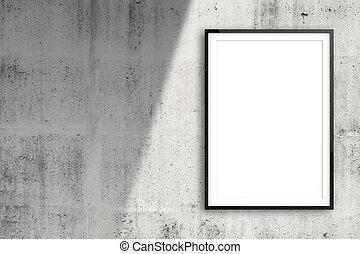 stijl, concept, muur omlijsting, moderne, samenstelling, lege