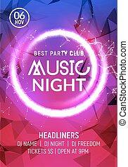 stijl, concert, dans, poster, nacht, disco club, flyer, ...