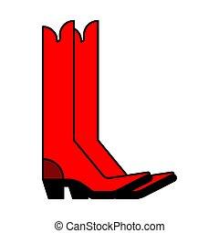 stijl, cowboy, shoes., boots., illustratie, vector, land, rood
